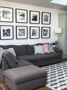 44 Lovely Black and White Living Room Ideas - Diy Wohnzimmer Ideen Boho Living Room, Living Room Grey, Living Room Furniture, Rustic Furniture, Coastal Living, Living Room Decor Black And White, Black Room Decor, Ikea Living Room, White Wall Decor