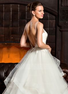 Ball-Gown Scoop Neck Cathedral Train Tulle Lace Wedding Dress (002067243)
