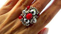 Beading Tutorials, Beading Patterns, Diy Beaded Rings, Jewelry Rings, Jewelery, Rings 2017, Ring Tutorial, Beads And Wire, Bead Weaving