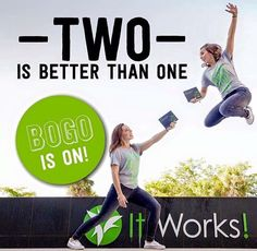 Been thinking of trying 'that crazy wrap thing'?! Well there's no time like today! BOGO IS BACK!! Order your wraps before Sunday and not only will you save 40% and get 10% back to spend on other products, but you also get a FREE box of wraps!! That's right, order now and you get 2 FOR 1!! #ItWorks #BOGO #SeptemberTwoRemember #GetYourFreeBoxToday #Tone #Tighten #Firm #SummerIsComing #SummerBody #SummerReady aimee.bald@hotmail.com http://aimeebald.myitworks.com