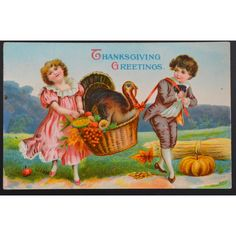 Thanksgiving Postcard PFB Germany Gel Finish Boy Girl Turkey Basket ($15) ❤ liked on Polyvore featuring home, home decor, small item storage, post card, turkey basket, thanksgiving basket, turkish home decor and thanksgiving home decor