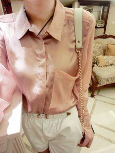 J to autumn of  new big satin chiffon short long after stitching before long sleeve shirt 5#828-9