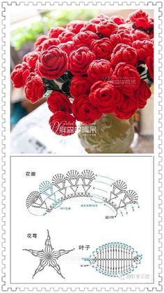 Crochet roses free diagram - Her Crochet Crochet Flower Tutorial, Crochet Flower Patterns, Crochet Art, Cute Crochet, Irish Crochet, Crochet Motif, Crochet Crafts, Crochet Projects, Crochet Leaves