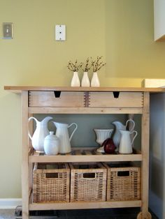 ikea kitchen cart with baskets, this will be great in our small space!