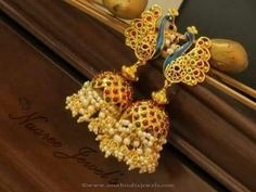 Gold Plated Ruby Pearl Jhumka by Sangita Creation