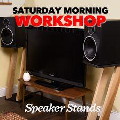 Saturday Morning Workshop: How To Build Speaker Stands Speaker Box Design, Reborn Doll Kits, Diy Speakers, Speaker Stands, Saturday Morning, Wood Work, Diy Videos, Things To Buy, Vinyl Records