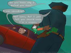 #Vegan #Police by @LTCartoons #humor #comics #trafficcop #lawenforcement #foodies #veganism