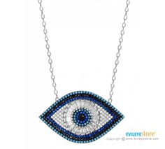 Lucky evil eye necklace for good luck. This evil eye necklace made of 925 sterling silver chain and handmade glass lucky eye bead. The evil eye is worn as a sign of protection againt the jealous glare. Evil Eye Necklace, Good Luck, Sterling Silver Chains, Crochet Earrings, Eyes, Greek, Handmade, Jewelry, Best Of Luck