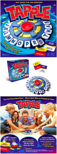 Tapple is the award-winning fast-paced word game that gives families & friends a rush of excitement as they compete to beat the timer! Simply pick a category, say a word that fits, tap the first letter of the word, then pass the Tapple wheel. No spelling required! And so much fun, kids don't even realize they are learning! The WHOLE family will love Tapple!   #Tapple #USAopoly