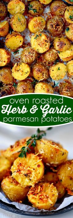 These Oven Roasted Herb and Garlic Parmesan Potatoes are the perfect side dish to whatever you're making for dinner tonight! Perfectly crispy on the outside and light and fluffy on the inside! // Mom On Timeout #potatoes #potato #garlic #parmesan #roasted #oven #side #dish #recipe #recipes #easy