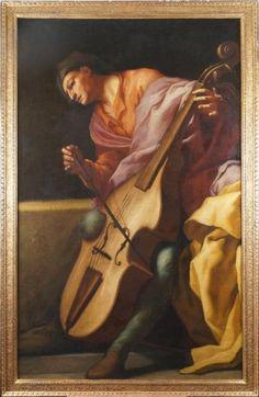 Attribué à Giuseppe Maria CRESPI - 1665-1747   UN JOUEUR DE VIOLE DE GAMBE Toile, probablement un fragment. (Restaurations anciennes). 186 x 115 - Pinterest