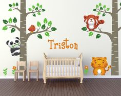 Birch Tree Forest Theme Nursery Wall Decals by LullaberryDecals Kids Room Wall Decals, Nursery Wall Decals, Baby Nursery Decor, Nursery Themes, Wall Art, Custom Vinyl Wall Decals, Removable Wall Decals, Forest Theme, Tree Forest