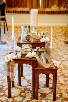 Altar Table With Mercury Glass and Burlap