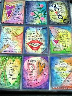 ATC's with reflection on the back for Lent from Peggy Apl seeds