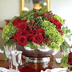 Give Your Dining Table a Vivid Focal Point < 101 fresh christmas decorating ideas - Southern Living