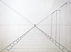 Nicely explained multi step perspective drawing project. Made extra fun by including alien to foreground. | Artchoo.com