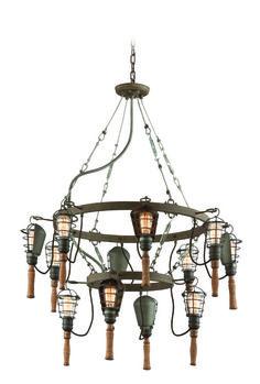Menlo Wooden Trouble Light Chandelier | Barn Light Electric