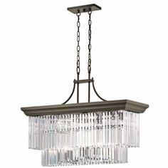 "Kichler Emile 12 Light 37"" Long Chandelier with Cascading Glass Shade - Olde Bronze Primary Image"