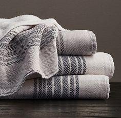 Powder room hand towel option - Japanese Herringbone Stripe Cotton Guest Towel