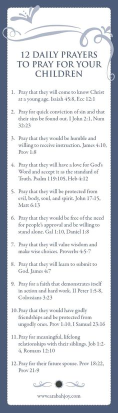 Grab this set of FREE bookmarks with 12 power Scriptures to pray for your children