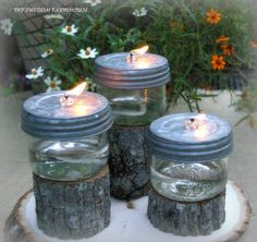 Table Centerpiece Rustic Wedding Decor Mason Jar Oil Lamps Woodland Wedding