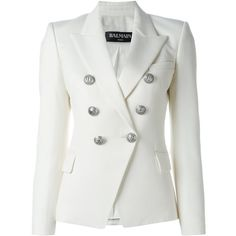 Balmain Double-Breasted Jacket in Wool ($1,450) ❤ liked on Polyvore featuring outerwear, jackets, white, double breasted blazer, blazer jacket, wool jacket, white jacket and double breasted wool jacket