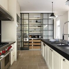 Kitchen With Modern Appliances And Sliding Glass Pantry Door : Choosing The Best Kitchen Pantry Doors Kitchen Pantry Doors, Glass Pantry Door, Kitchen Pantry Design, Kitchen Interior, New Kitchen, Kitchen Decor, Kitchen Cabinets, Glass Doors, Kitchen Pantries