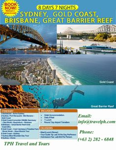 Travel with the Budget Expert. Our Professional Travel Agent would Love to assist you with all your travel needs. Travel to Philippines, America, Asia or the world we all have that at a very reasonable price. Great Barrier Reef Tours, Brisbane Gold Coast, Port Macquarie, Philippines Travel, Round Trip, Travel Info, Sea World, Australia Travel, Sydney