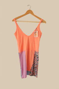 #patchwork #tank #dress #limited #edition #fabric #neon #orange #pink #fruits #trueno #design