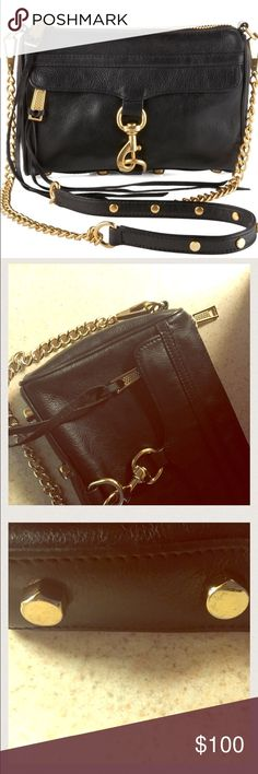 REBECCA MINKOFF Mini MAC Crossbody Black: Gold Hardware: Crossbody: Removable Chain: 9''W x 6''H x 2''D: LEATHER PULL MISSING ON TOP ZIPPER (as pictured in the 2nd pic): Metal Gold Feet (4 at the bottom of bag) are Scuffed (Minor; AS PICTURED in 3rd Pic): Light Signs of wear: OVERALL VERY GOOD-GOOD CONDITION: 100% AUTHENTIC: Purchased @ Nordstrom: 🚫🚫🚫NO TRADES🚫🚫🚫 Rebecca Minkoff Bags Crossbody Bags