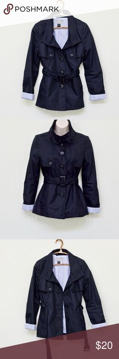 """H&M Fold Up Cuff Short Trench Coat 2 + in clean and great used condition + size 2 + fully lined blue and white pin stripes + belt with back slit + shoulder drop approximately 24"""" + dark navy blue H&M Jackets & Coats Trench Coats"""
