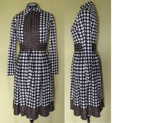 Vintage Long Sleeve Polka Dot Dress by Neiman-Marcus, Brown and White, 1970's Era by ilovevintagestuff on Etsy