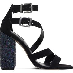 Carvela Goody suedette heeled sandals ($81) ❤ liked on Polyvore featuring shoes, sandals, strappy heeled sandals, strap heel sandals, black strappy shoes, glitter shoes and block heel sandals