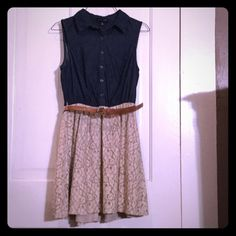 As U Wish Lacy Blue Jean Dress w/ Belt. Size M As U Wish Brand Lacy Blue Jean Dress w/ attachable belt included. Size Medium. Dark denim button up sleeveless top, Tan/Cream Lace Skirt with inner lining. One Piece! NWOT. Very Cute dress! Looks good dressed up or down As U Wish Dresses Mini