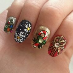 One of these on each hand would look lovely with the rest painted solid