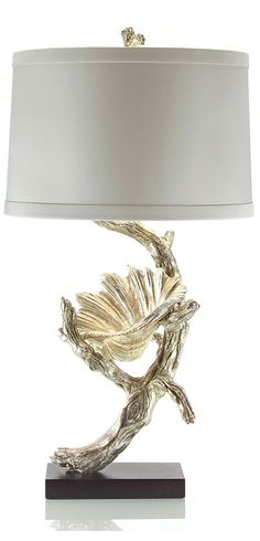 Table Lamps, Luxury Designer Silver Branch & Shell Sculpture Lamp, so beautiful, one of over 3,000 limited production interior design inspirations inc, furniture, lighting, mirrors, tabletop accents and gift ideas to enjoy repin and share at InStyle Decor Beverly Hills Hollywood Luxury Home Decor enjoy & happy pinning