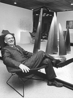 """Designer and sculptor Harry Bertoia spent the final decades of his life creating mesmerizing """"sonambient"""" music out of big metal objects. An collection of his recordings has just been reissued. Harry Bertoia, Walter Gropius, Charles Eames, Mid Century Modern Furniture, Mid Century Design, Furniture Collection, Chair Design, Metal Art, Florence"""