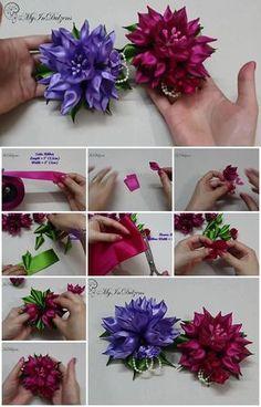 diy ribbon kanzashi tulip flower step by step tutorial UsefulDIYcom - DIY and crafts Satin Ribbon Flowers, Ribbon Art, Diy Ribbon, Fabric Flowers, Paper Flowers, Diy Bow, Ribon Flowers, Ribbon Crafts, Kanzashi Tutorial