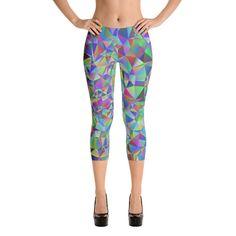 Rainbow Geometric Fitness Capri Leggings