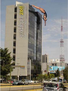 Anuncio BTL en edificio. Juegos Panamericanos Guadalajara 2012