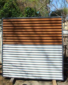 Panou de gard metalic alb-imitatie lemn. Fence, Blinds, Industrial, Curtains, Metal, Wall, Modern, Home Decor, Trendy Tree