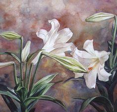 White Lilies 2 - A Fine Art Print from an Original Watercolor Watercolour Tutorials, Watercolor Artists, Watercolor Print, Watercolor Flowers, Fire Lily, Erte Art, Art Deco Print, Still Life Oil Painting, White Lilies