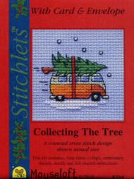 New Mouseloft Christmas Card Counted Cross Stitch Kit. Camper Van Collecting The Tree. Kit Also available without the Card.