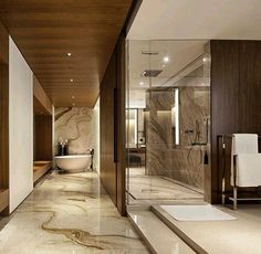 There's nothing like a bathroom the size of my living room. Spa Interior, Bathroom Interior Design, Interior Design Living Room, Modern Classic Bathrooms, Modern Bathroom, Versace Tiles, Small Master Bath, Washroom Design, Big Bathrooms