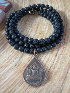 Buddha Necklace - Lava Stone Mala Beads, Thai Vintage Buddha Amulet by Merkaba Warrior
