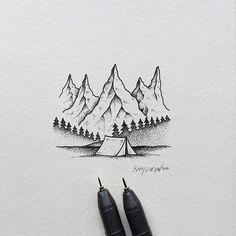 Lil camping scene.  #art #illustration #mountains #camping Sam Larson
