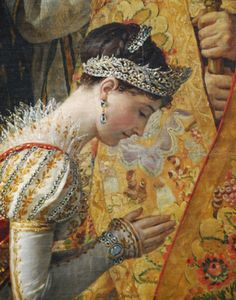 """Close up of Josephine in """"Coronation of the Emperor Napoleon I and Empress Josephine"""" by Jacques-Louis David."""