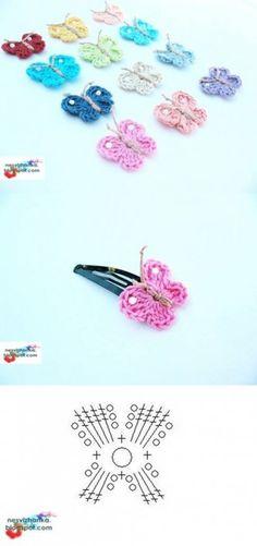 DIY Crochet Butterfly Clip DIY Crochet Butterfly Clip by diyforever Crochet Diy, Crochet Amigurumi, Love Crochet, Crochet Gifts, Crochet Motif, Crochet Flowers, Crochet Stitches, Crochet Patterns, Crochet Butterfly Free Pattern