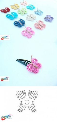 DIY Crochet Butterfly Clip DIY Crochet Butterfly Clip by diyforever Crochet Diy, Crochet Amigurumi, Love Crochet, Crochet Gifts, Crochet Motif, Crochet Flowers, Crochet Patterns, Crochet Butterfly Free Pattern, Mini Amigurumi