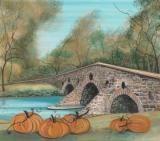 """Conewago Creek's Humpback Bridge"" by P Buckley Moss depicts the Johns Burnt Mill Bridge located between Hanover and New Oxford Pennsylvania. Published 2010. Giclee on paper. Image Size: 11-1/2 x 13 ins.  $100. #canadagoosegallery #waynesvilleohio #pbuckleymoss #pbuckleymossart #art #artist #autumn #fall #pumpkins #stonebridges #Johnsburntmillbridge #hanoverpennsylvania #newoxfordpennsylvania #conewagocreek #giclee"